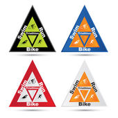 Vector triangle triathlon symbol set — Stock Vector