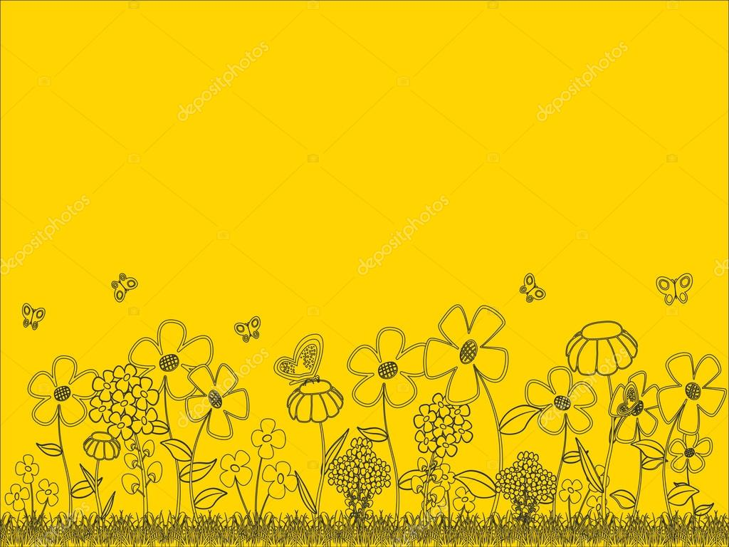 Background - floral cartoon  theme on a yellow background, with space for text or image. EPS10 vector image. — Stock Vector #13846183