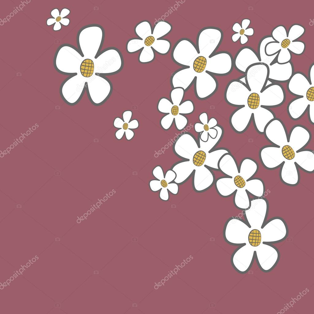 Simple floral card with cartoon flowers. EPS10 vector illustration. — Stock Vector #13846205