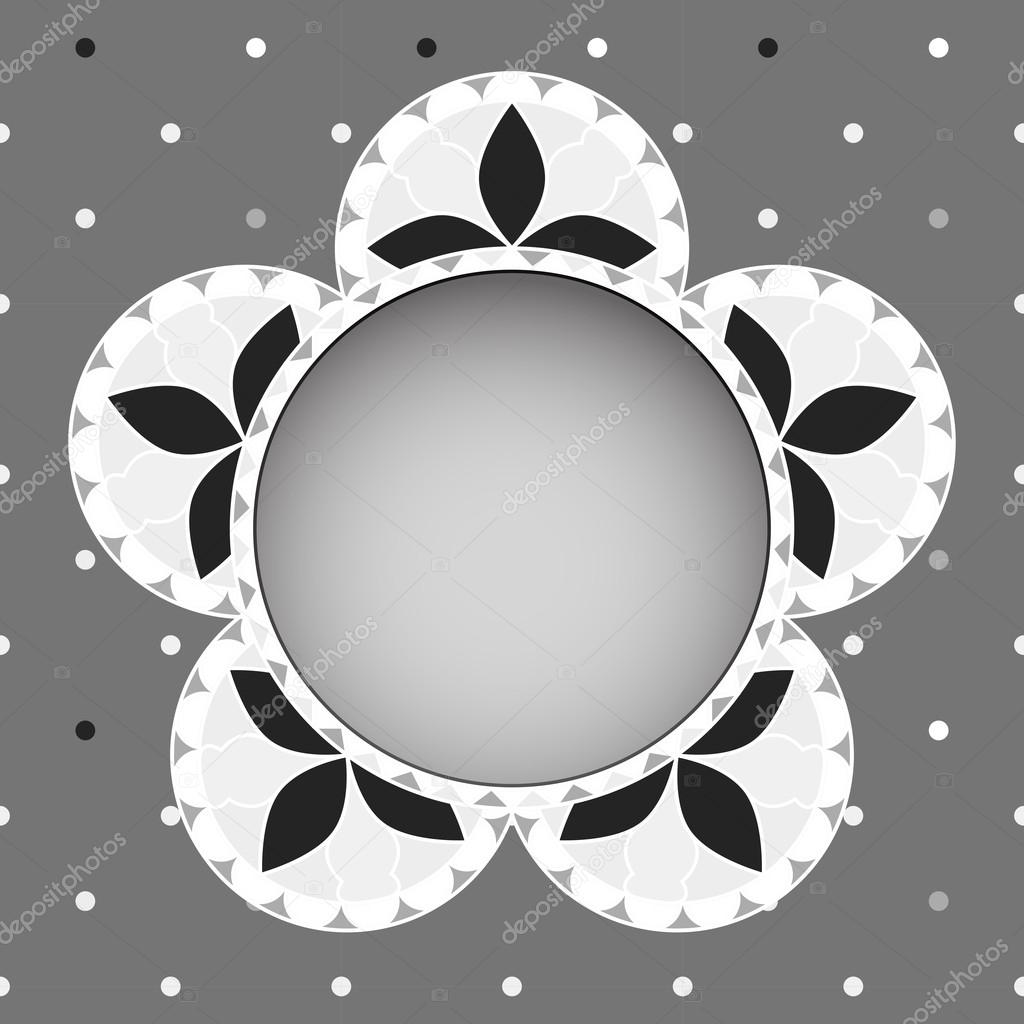 Abstract vintage floral greeting card in grayscale tones. EPS10 vector illustration. — Vettoriali Stock  #15705959
