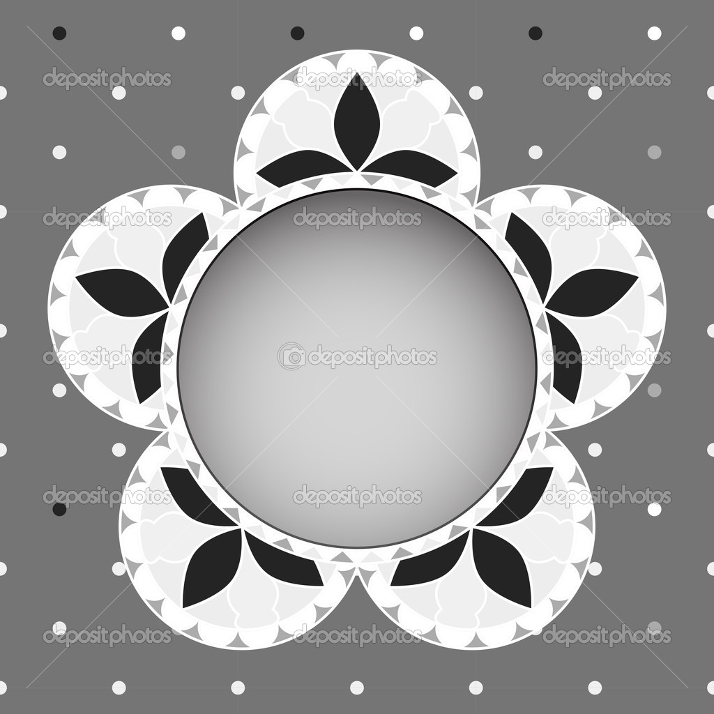 Abstract vintage floral greeting card in grayscale tones. EPS10 vector illustration. — ベクター素材ストック #15705959