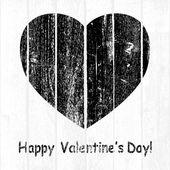 Black Grunge Wooden Valentine — 图库矢量图片
