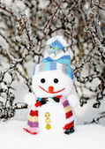 Smiling snowman in the snow as no name toy — Stock Photo