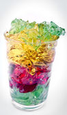 Gelatin of different colors on glass — Stock Photo