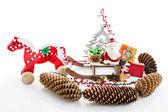 Close up of Santa sitting on wooden horse sledge — Foto de Stock