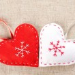 Two felt hearts — Stock Photo #16804533