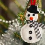 Felt snowman — Stock Photo