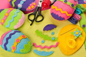 Do it yourself Easter felt decorations — Stock Photo