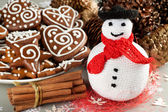 Christmas Crochet snowman — Stock Photo