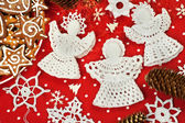 Christmas Crochet Decorations — Stock Photo