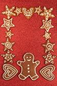 Gingerbread cookies border — Stock Photo