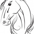 Stock Photo: Isolated vector drawing of horse head