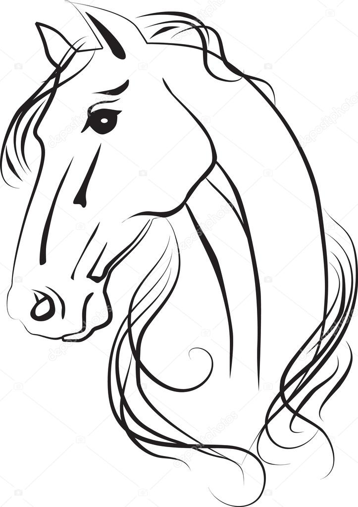 Black horse head drawing - photo#24