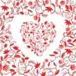 Stock Vector: Floral heart shaped pattern