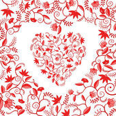 Floral heart shaped pattern — Stock Vector