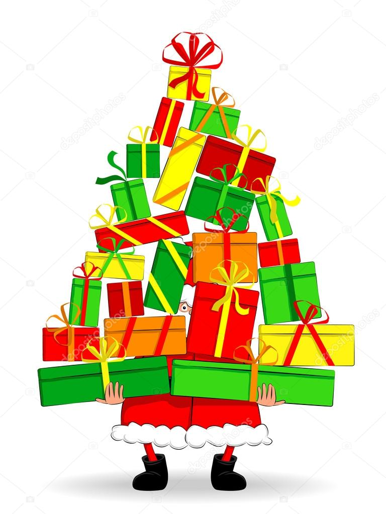 Funny fat Santa Claus holding gifts like a christmas tree. — Stock Vector #15941329