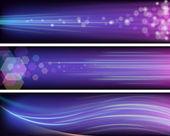 Shiny purple banners — Stock Vector