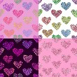 Four hearts seamless patterns. — Stock Vector
