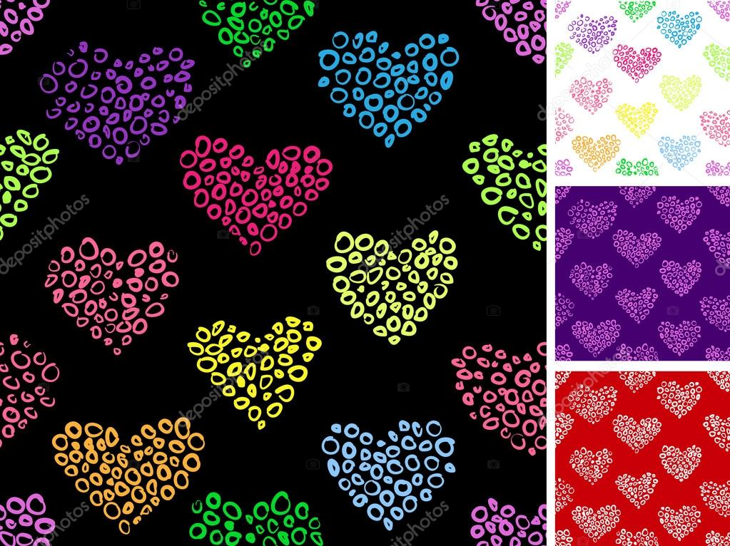 Seamless pattern with hearts made out of small rounds.  Stock Vector #18231363