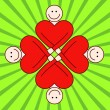 Togetherness - red hearts. — Imagen vectorial