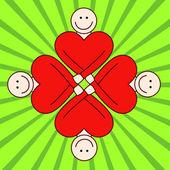 Pospolitosti - červené srdce. — Stock vektor