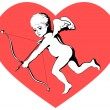 Cupid on red heart — Stock Vector