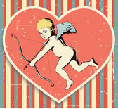 Cupid on textured background. — Stock Vector