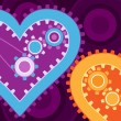 Mechanical hearts on purple - Stock Vector