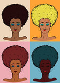 Afro lady color — Stock Vector