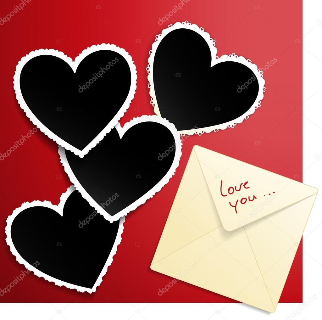 Vector image with envelope and heart shaped photo templates decorated with laces. — Stock Vector #18985747