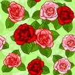 Stock Vector: Red roses seamless pattern
