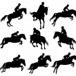 Showjumping silhouettes — Stock Vector
