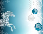 Christmas background blue with horse — Stock Vector