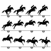 Jumping horse phases — Stock Vector