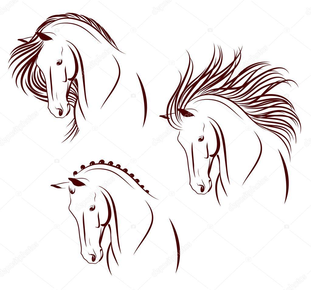 Set di 3 teste di cavallo vettoriali stock anilin for Cavallo stilizzato
