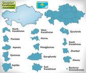 Karta över kazakstan med gränserna i blått — Stockvektor