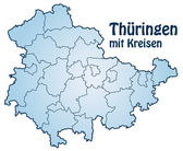 Map of thuringia with borders in blue — Stock Vector