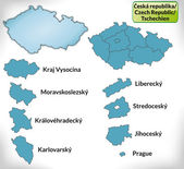 Map of Czech Republic with borders in blue — Stock Vector