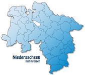 Map of Lower Saxony with borders in blue — Vector de stock