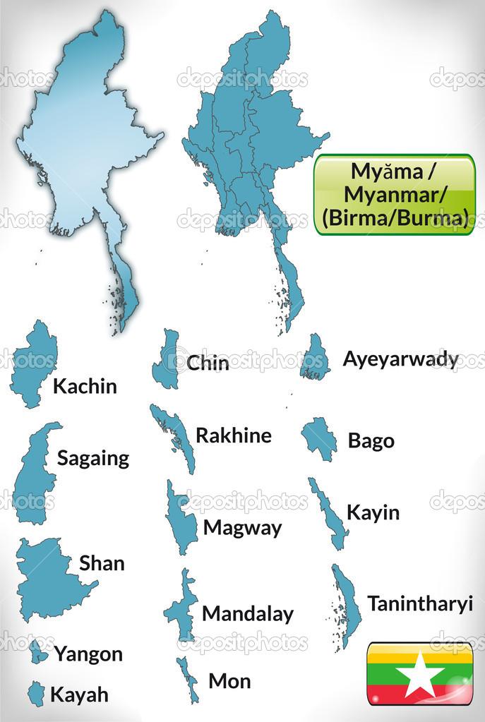 蓝色边框的缅甸地图