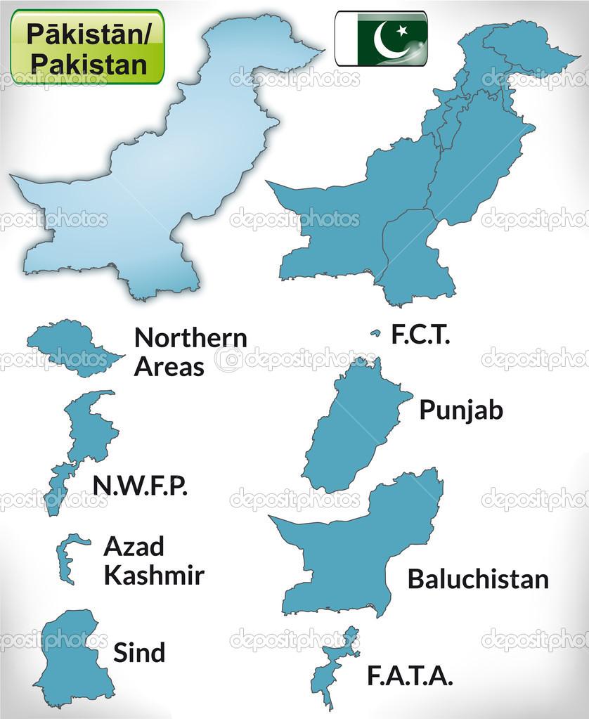 蓝色边框的巴基斯坦地图
