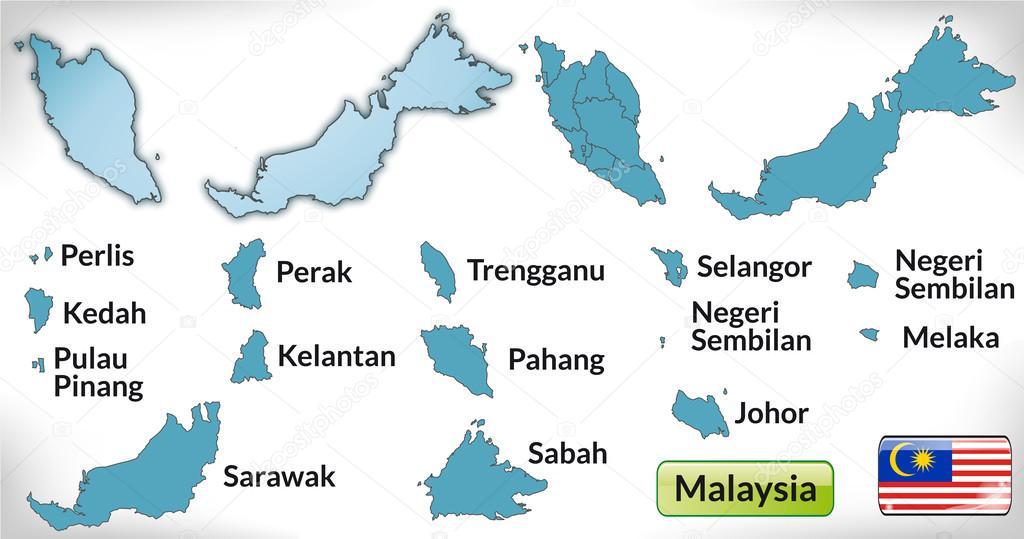 马来西亚带有蓝色边框的地图