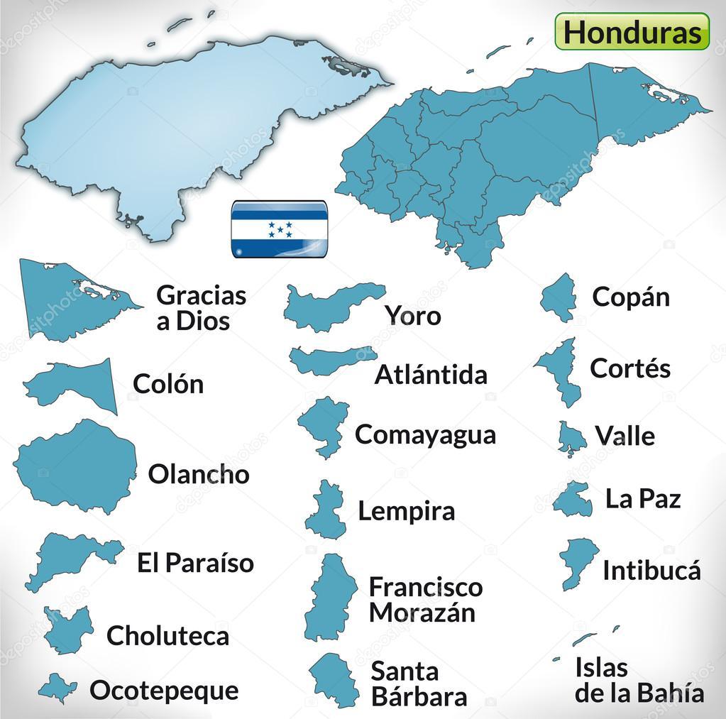 蓝色边框的洪都拉斯地图