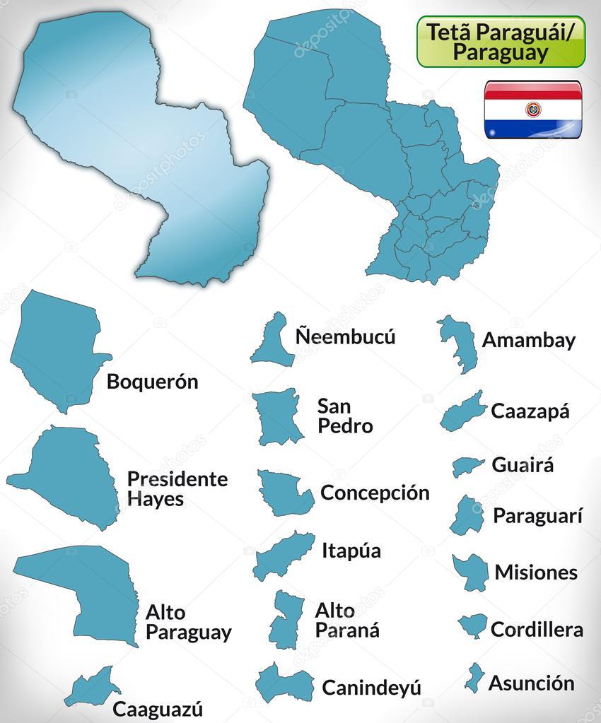 蓝色边框的巴拉圭地图
