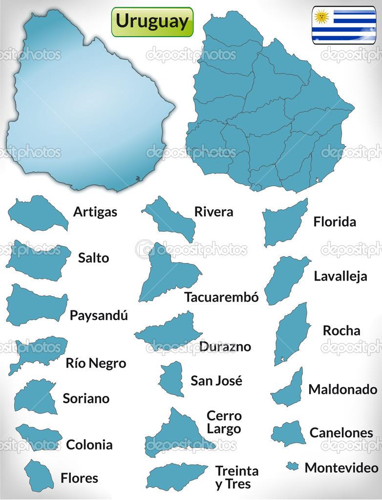 蓝色边框的乌拉圭地图