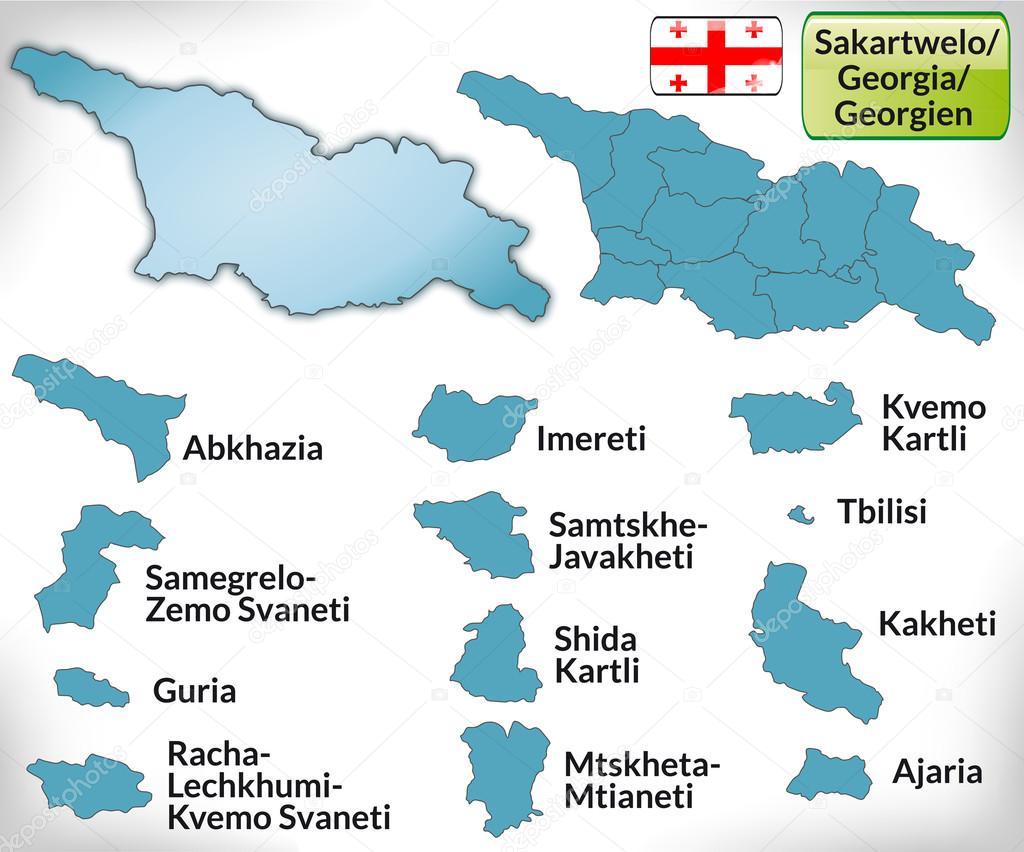 蓝色边框的格鲁吉亚地图