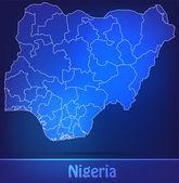 Map of Nigeria with borders as scrible — Vector de stock
