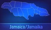 Map of Jamaica with borders as scrible — Vector de stock