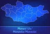 Map of Mongolia with borders as scrible — Vector de stock