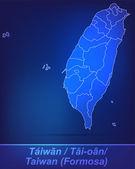 Map of Taiwan with borders as scrible — Vector de stock